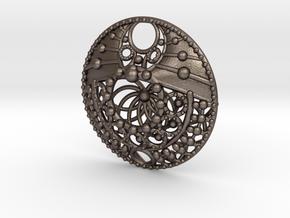Mandala Pendant  in Polished Bronzed Silver Steel