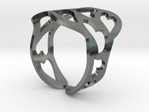 Ring of hearts  in Fine Detail Polished Silver