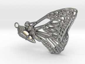 Butterfly Cocoon pendant in Natural Silver