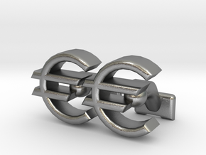 Euro Symbol Cuff-Links in Natural Silver