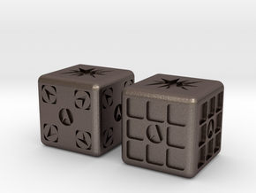 Test Printing Space Dice in Polished Bronzed Silver Steel