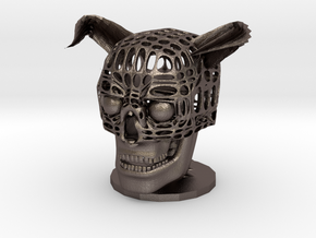 Pen stand of Skull of Devil in Polished Bronzed Silver Steel