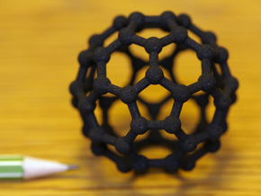 Buckyball C60 Molecule Model Medium (5cm) in Black Strong & Flexible