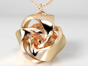 Rose Ball Pendant With Bail 20mm in 14K Yellow Gold