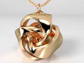 Rose Ball Pendant With Bail 20mm in Polished Brass
