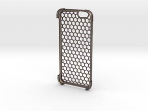 iPhone 6 shell Honeycomb in Polished Bronzed Silver Steel