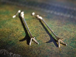 Tri-Spur Drop Earrings Pair in 14K Yellow Gold