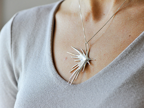 Pendant Necklace / Feather Strike Necklace in Polished Silver