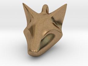 Stylish Fox Head Pendant in Natural Brass