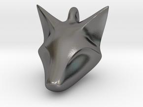 Stylish Fox Head Pendant in Polished Nickel Steel
