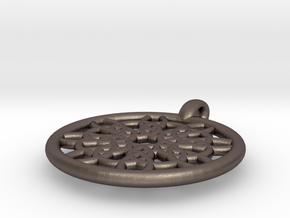 Mneme pendant in Polished Bronzed Silver Steel