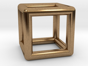 Hexahedron (Cube) in Natural Brass