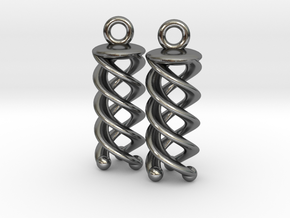 Triple Helix Earrings in Polished Silver