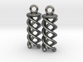 Triple Helix Earrings in Polished Silver