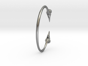Crow Cuff Bracelet 82mm ID in Natural Silver