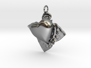 Cloth Heart in Polished Silver
