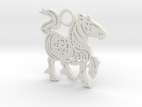 Year of the Horse: Lucky charm in White Natural Versatile Plastic