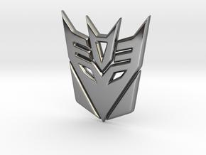Decepticon Logo in Fine Detail Polished Silver