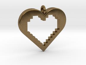Pixel Heart in Natural Bronze