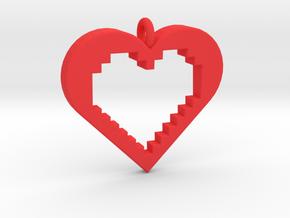 Pixel Heart in Red Processed Versatile Plastic