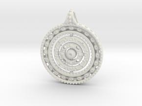 Gyroscope Mandala Pendant in White Natural Versatile Plastic