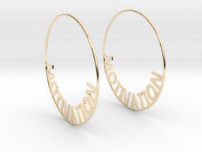 Custom Hoop Earrings - Motivation 60mm in 14K Yellow Gold
