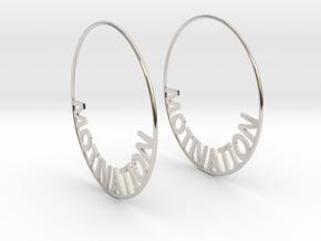Custom Hoop Earrings - Motivation 60mm in Platinum
