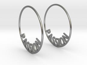 Custom Hoop Earrings - Passion 40mm in Natural Silver