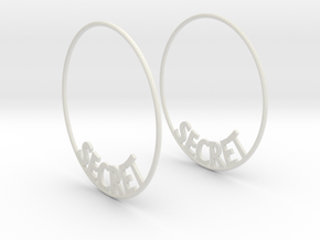 Custom Hoop Earrings - Secret 50mm in White Natural Versatile Plastic