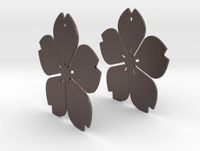 Flowerish 11 Big Earrings 50mm in Polished Bronzed Silver Steel