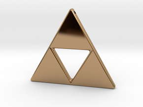 Tri-Force Necklace Pendant in Polished Brass