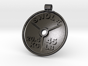 SWOLE Plate - Pendant in Polished and Bronzed Black Steel