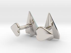 Paper Airplane Cufflinks with Heart Button in Platinum
