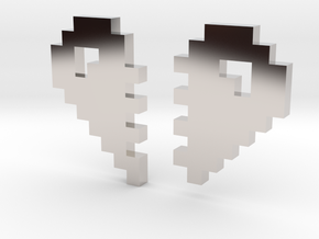 2 Halfs of an 8 Bit Heart (Pixel Heart) in Platinum