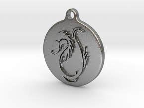 Dragon pedant in Natural Silver