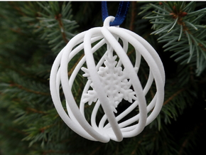 Snowflake Bauble small in White Processed Versatile Plastic