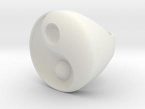 Yin Yang - 6.1 - Chevalière - 16 Mm in White Natural Versatile Plastic