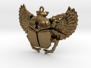 3D printed Winged Scarab in Natural Bronze