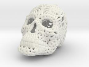 Filigree Sugar Skull Pendant 1 in White Natural Versatile Plastic