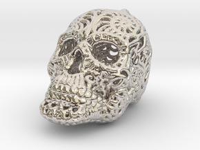 Filigree Sugar Skull Pendant 1 in Platinum