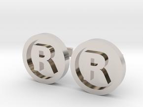 Registered Trademark Logo Cuff Links in Platinum