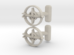 Compass Cufflinks, Part of the NEW Nautical Collec in Natural Sandstone