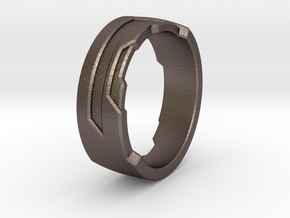 Ring Size K in Polished Bronzed Silver Steel