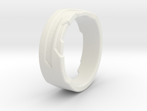 Ring Size S in White Natural Versatile Plastic