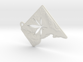 Washington DC w/pot leaf key fob in White Natural Versatile Plastic