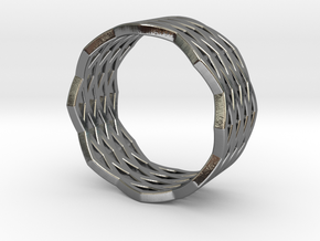 """Urban Grid"" Ring in Polished Silver"