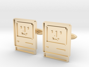 Happy Computer Cufflinks in 14K Yellow Gold