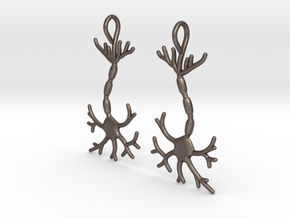 Neuron Earrings (Pair) in Polished Bronzed Silver Steel