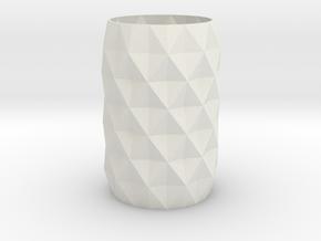 Stylish Faceted Designer Vase - 120mm Tall in White Natural Versatile Plastic