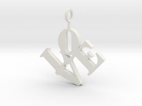 Love Sculpture Pendant in White Natural Versatile Plastic